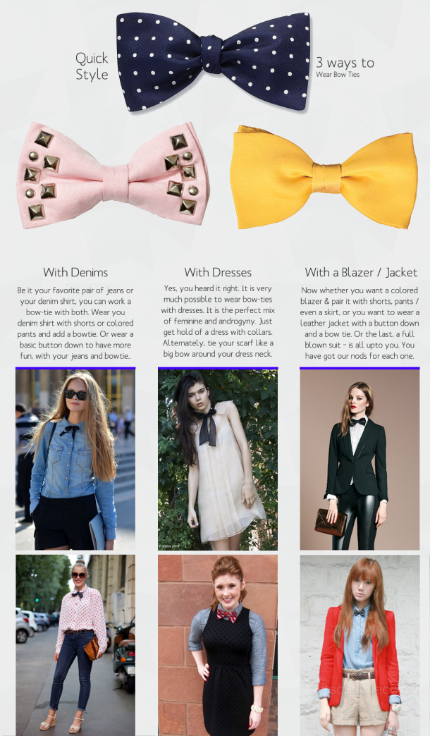 25750b5ceebd 3 ways to wear a bow tie for women ! With denim... with a dress and with a  coat or blazer !