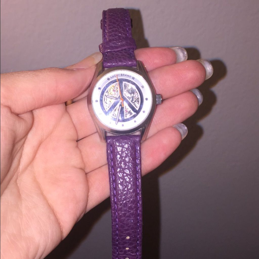 Lucky Brand Women's Silvertone Peace Sign Watch - Free ... |Lucky Brand Peace Watch