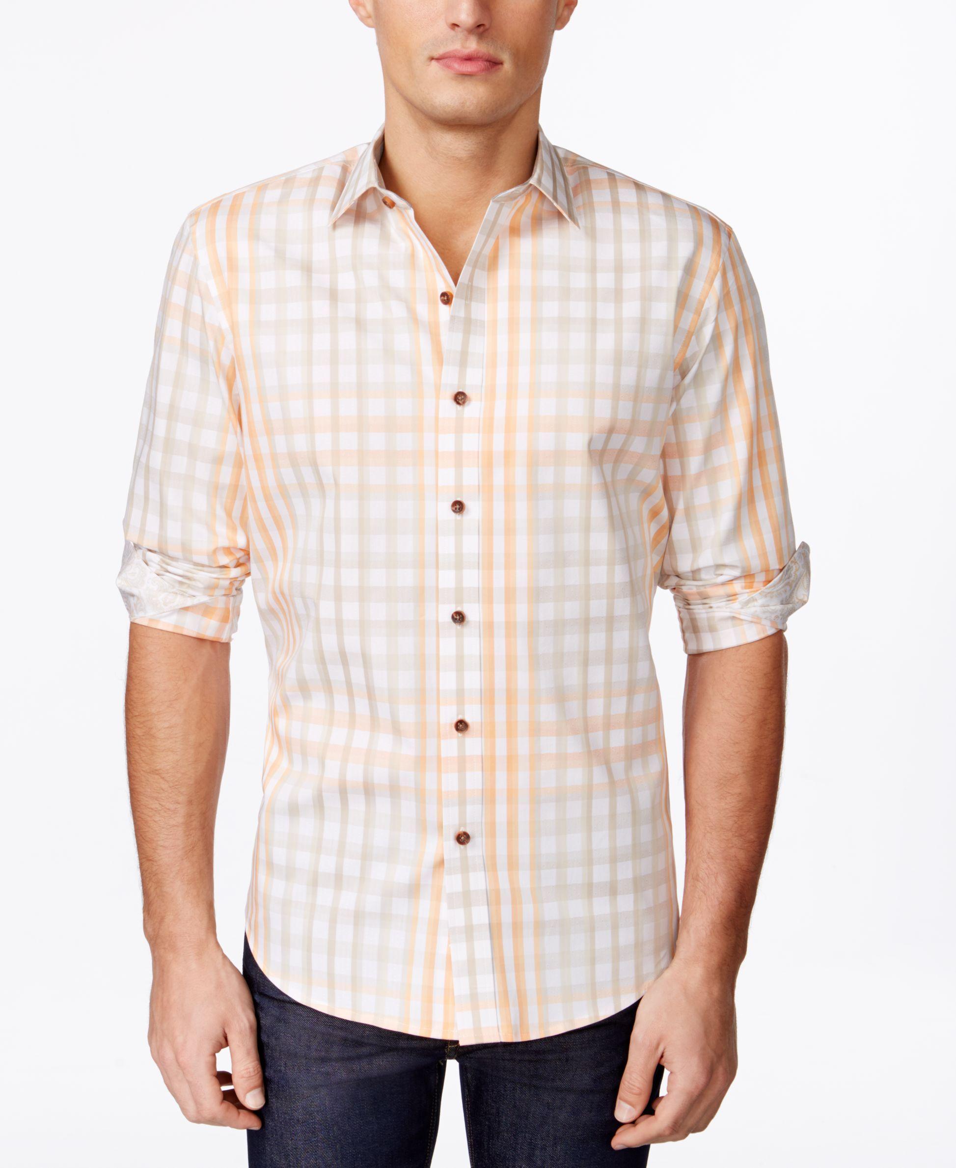 Tasso Elba Men's Torino Dobby Grid-Pattern Long-Sleeve Shirt, Only at Macy's