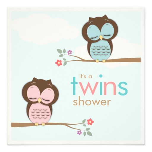 Sweet twins owls boy girl baby shower invitation shower sweet twins owls boy girl baby shower invitation filmwisefo Image collections