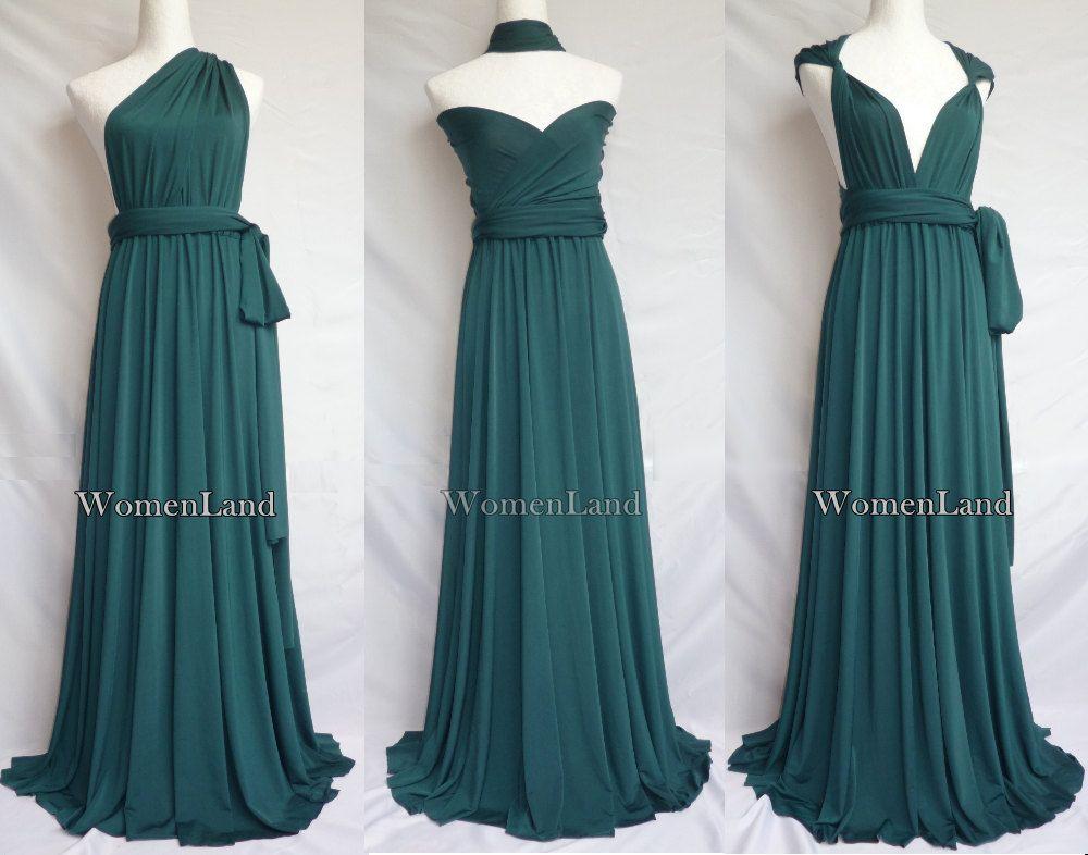 2f9bed6a2f7 Dark Green Full Length Elegant Infinity Dress Convertible Dress Woman  Dresses Evening Wedding Bridesmaid Dress Tailor Made Plus Size.  88.00