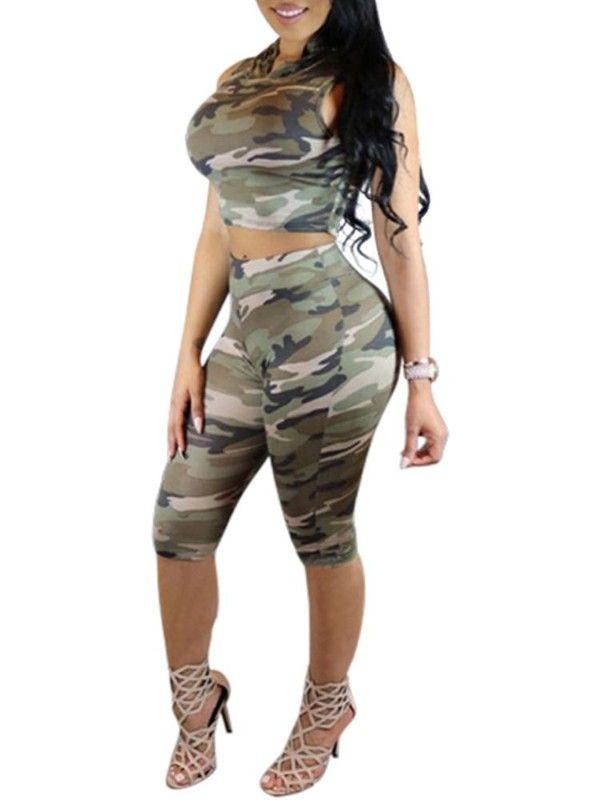 023b97bdc2b2c Women s Suit Set Camo Print Sleeveless Hooded Crop Top + Skinny Shorts 2pcs  Casual Sport Jogging Suits