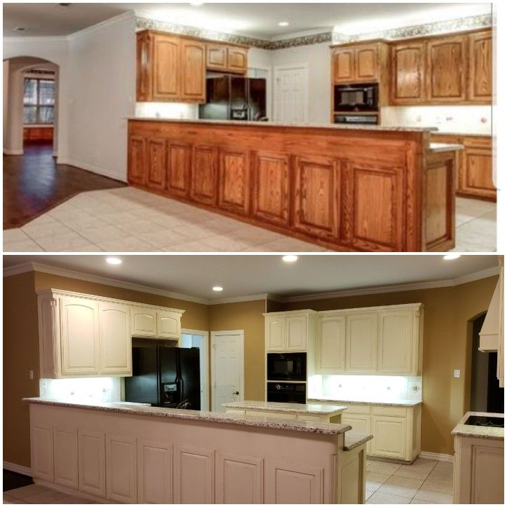 From outdated oak to beautiful distressed cream. | Kitchen ...