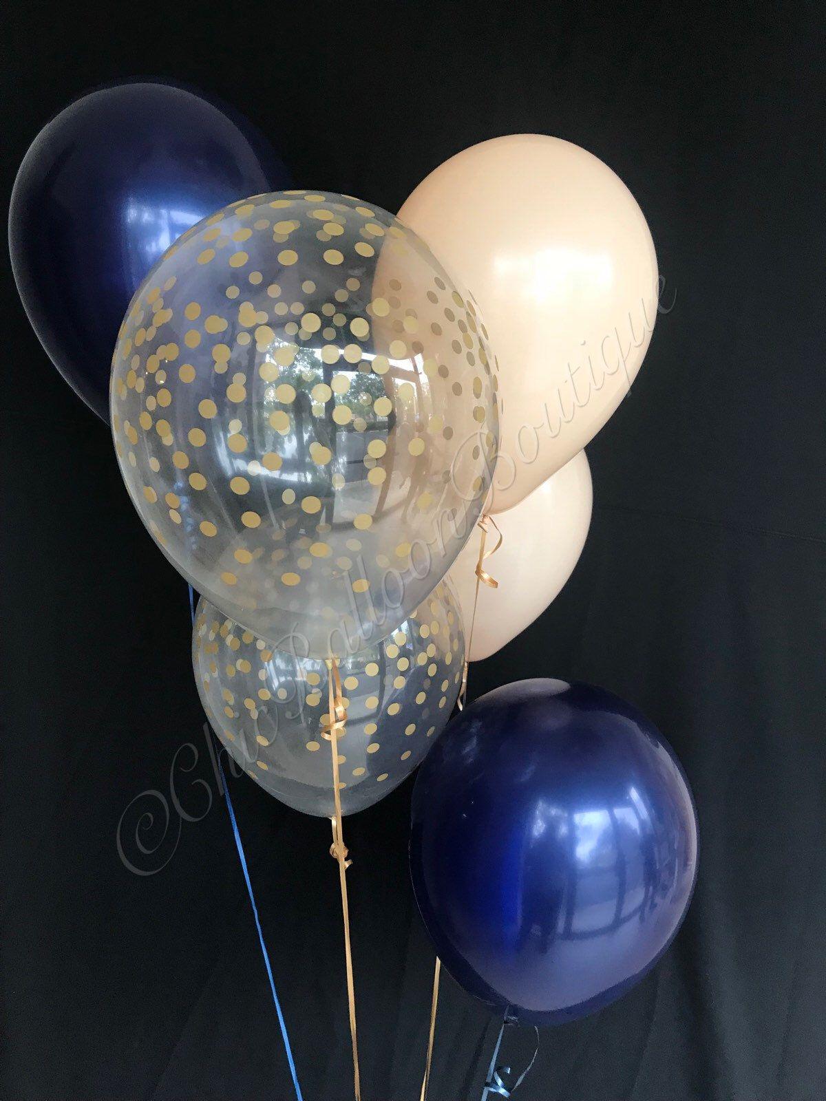 Latex wedding dress  Navy Blush u Gold Confetti Balloons