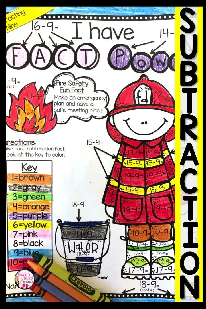 Fire Safety Coloring Page Holiday math, Subtraction