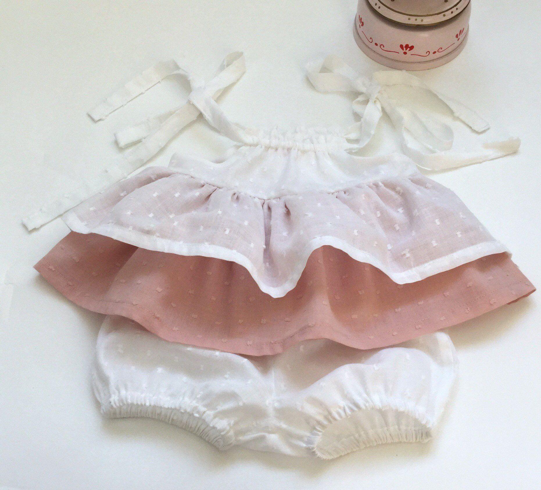d3cd5ef629 Completino bimba in cotone rosa e bianco - scamiciato e culotte per neonata  - prendisole e culotte per bambina - abito cerimonia neonata di cecibirbona  su ...