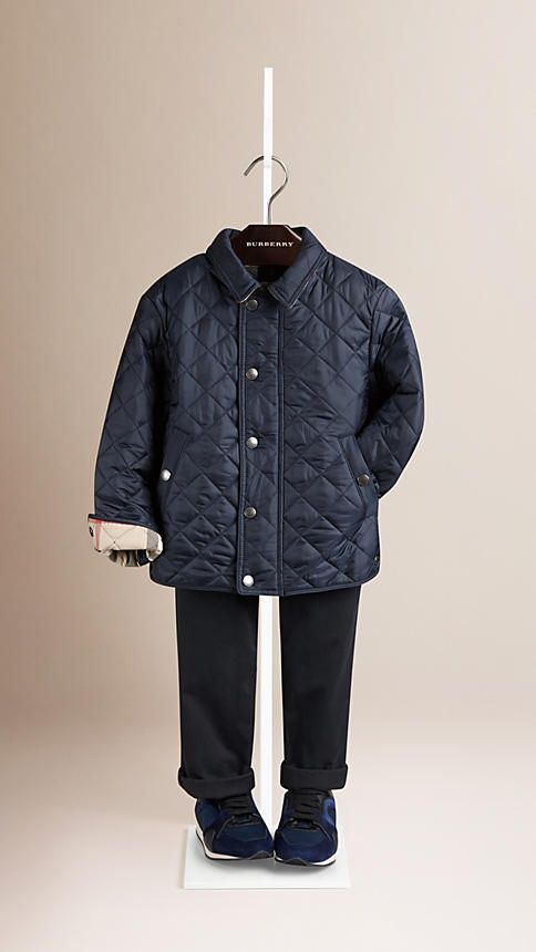 65cca6e5a Burberry Navy Diamond Quilted Jacket - Lightweight diamond quilted jacket  with check undercollar and lining. Round collar, concealed front zip and ...