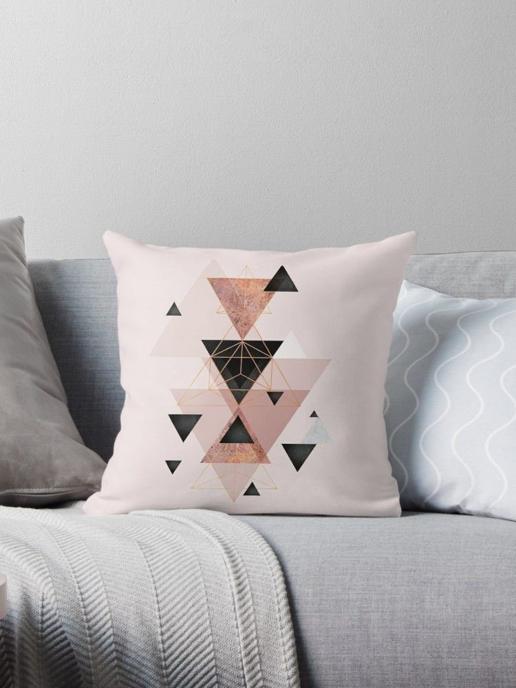 Geometric Triangles In Blush And Rose Gold Throw Pillow By Urbanepiphany Rose Gold Throw Pillows Gold Throw Pillows Throw Pillows