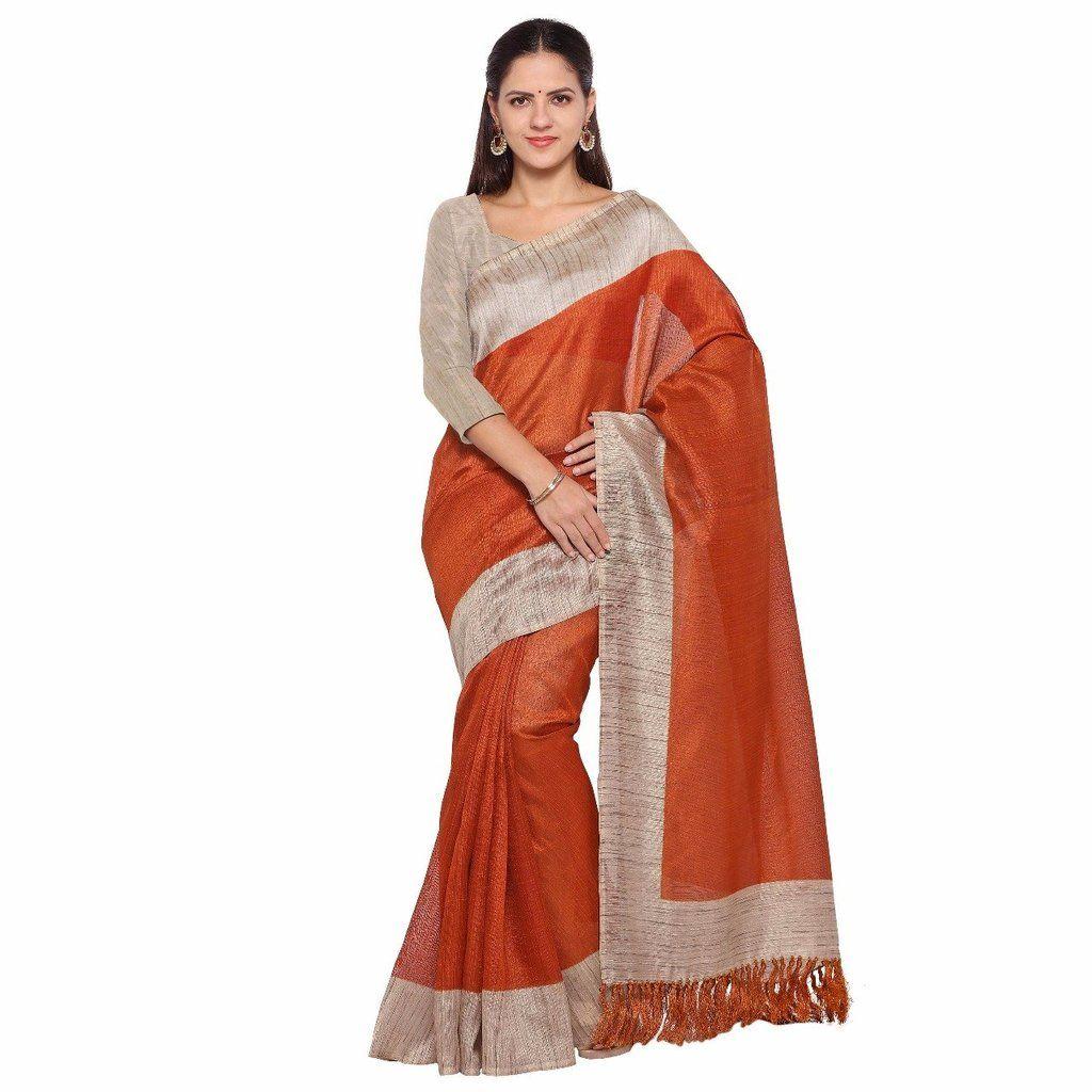 Off white tussar silk saree brown with tassel pallu tussar silk saree  tussar silk sarees
