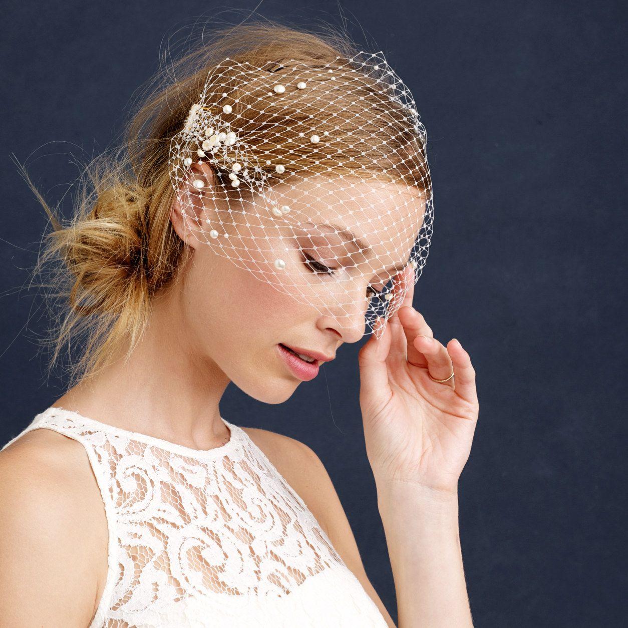 twigs & honey® pearl birdcage veil : veils & headpieces | j.crew