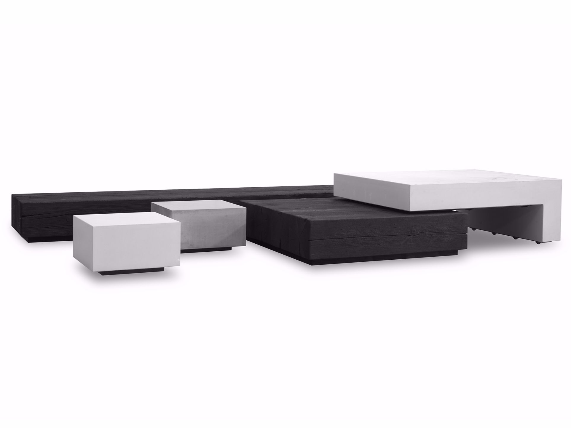 Rectangular cement coffee table JENGA by BAXTER design Draga