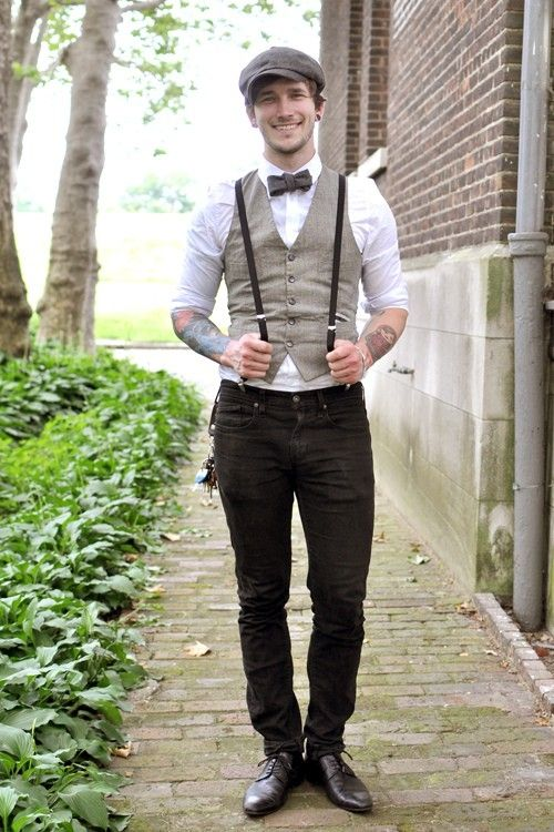 Vest + suspenders + old man hat + bow tie \\u003d Dream Guy. marry me?  you\\u0027re handsome.