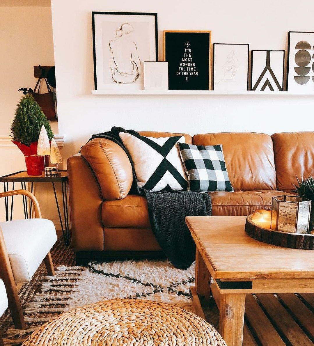 Color Palette Cognac Black White Brown Couch Living Room Living Room Colors Black And White Living Room Black and brown living room ideas