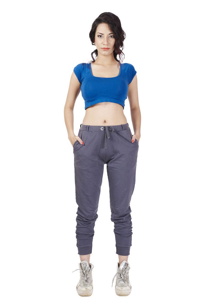 De Moza Ladies Knit Bottom Jogger Solid Cotton Dark Grey   #bloggers #longshrug #jogger #printedlegging #fashionblogger #palazzo #skirts #fashionlegging #AW16 #indianblogger