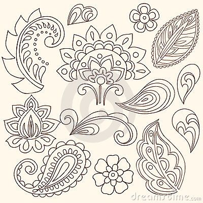 Henna Mehndi Flowers And Paisley Vector Stock Image - Image ...
