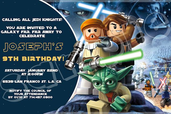 star wars lego birthday invitation 4x6 5x7 digital file. Black Bedroom Furniture Sets. Home Design Ideas