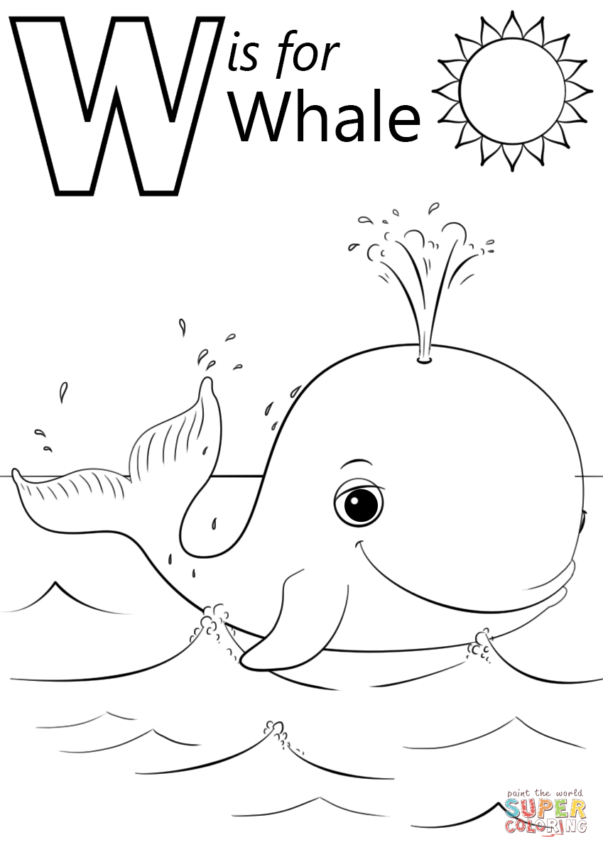 W is for whale super coloring