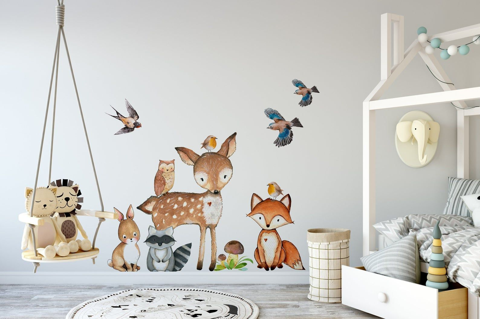 10 Woodland Nursery Animals Wall Decor Watercolor Fox Deer Owl
