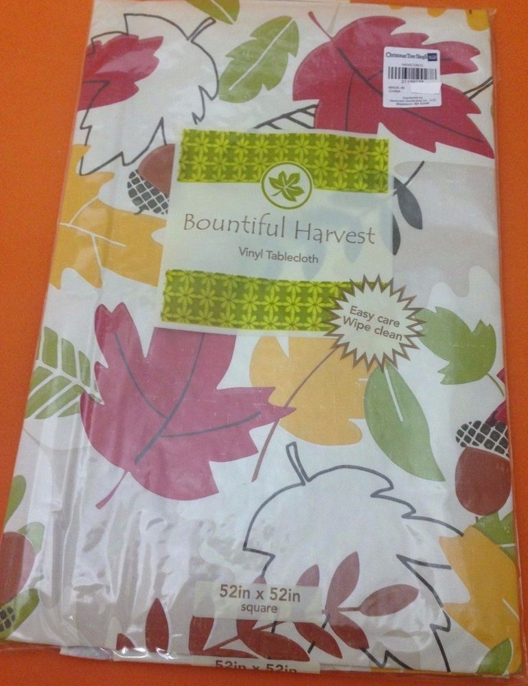 Delicieux Autumn Leaves Acorns Vinyl Tablecloth Flannel Backing 52 X 52 Inch New 04  #BountifulHarvest #