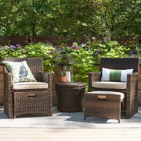 wicker patio set the ottoman can be pushed under the chair to gain rh pinterest com