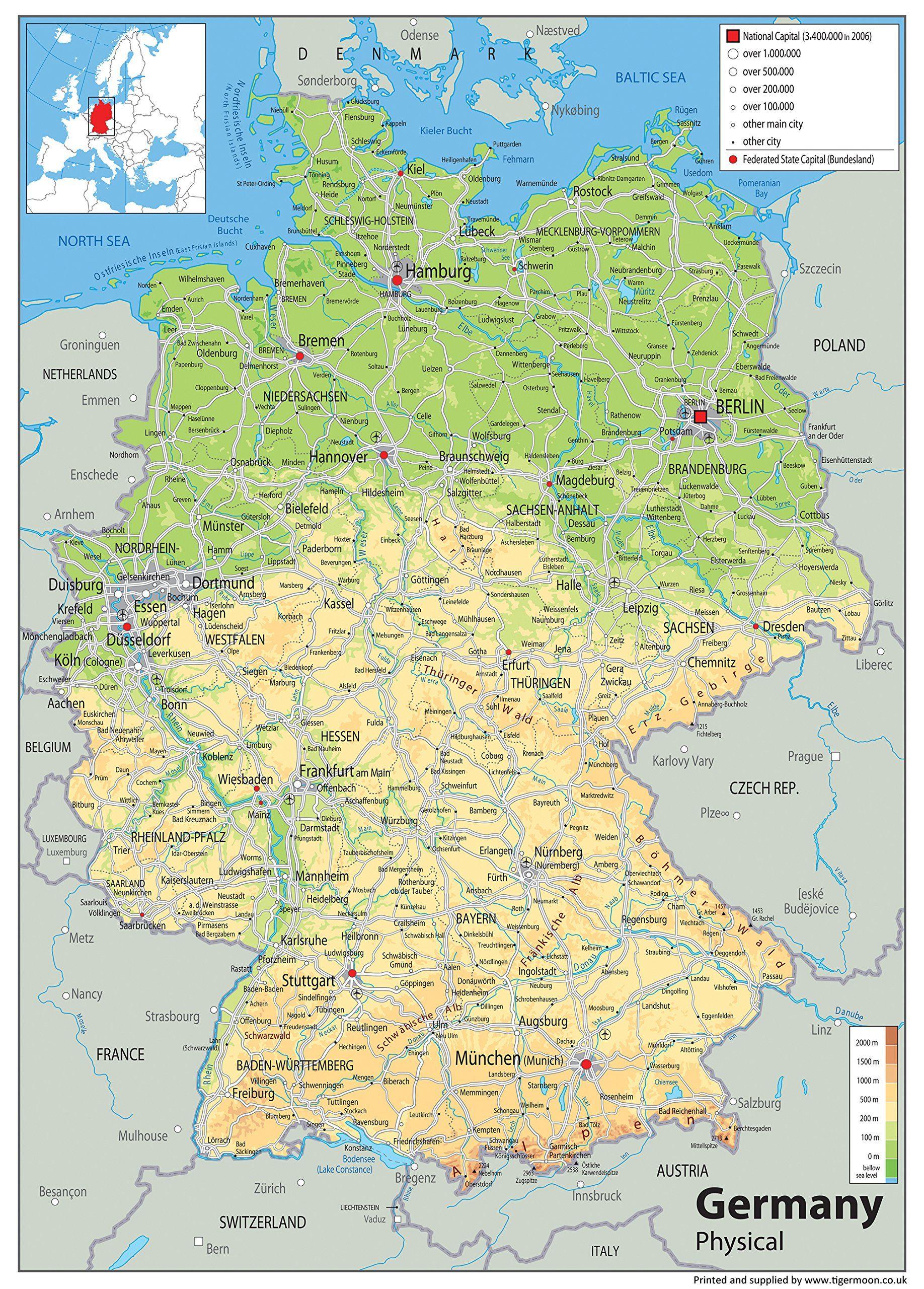 große karte deutschland Deutschland Physikalische Karte   Papier laminiert   A0 Größe 84,1