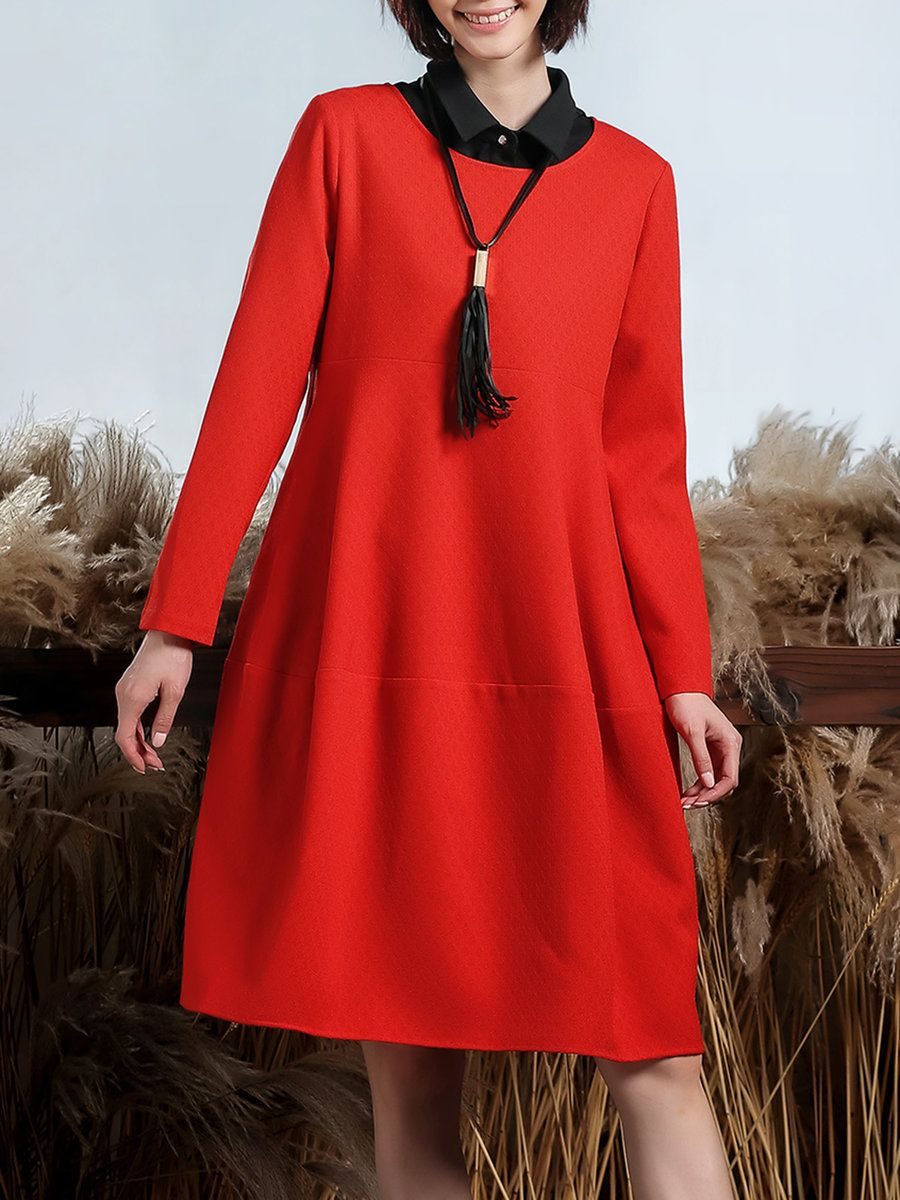 Lantian red crew neck solid long sleeve aline midi dress midi