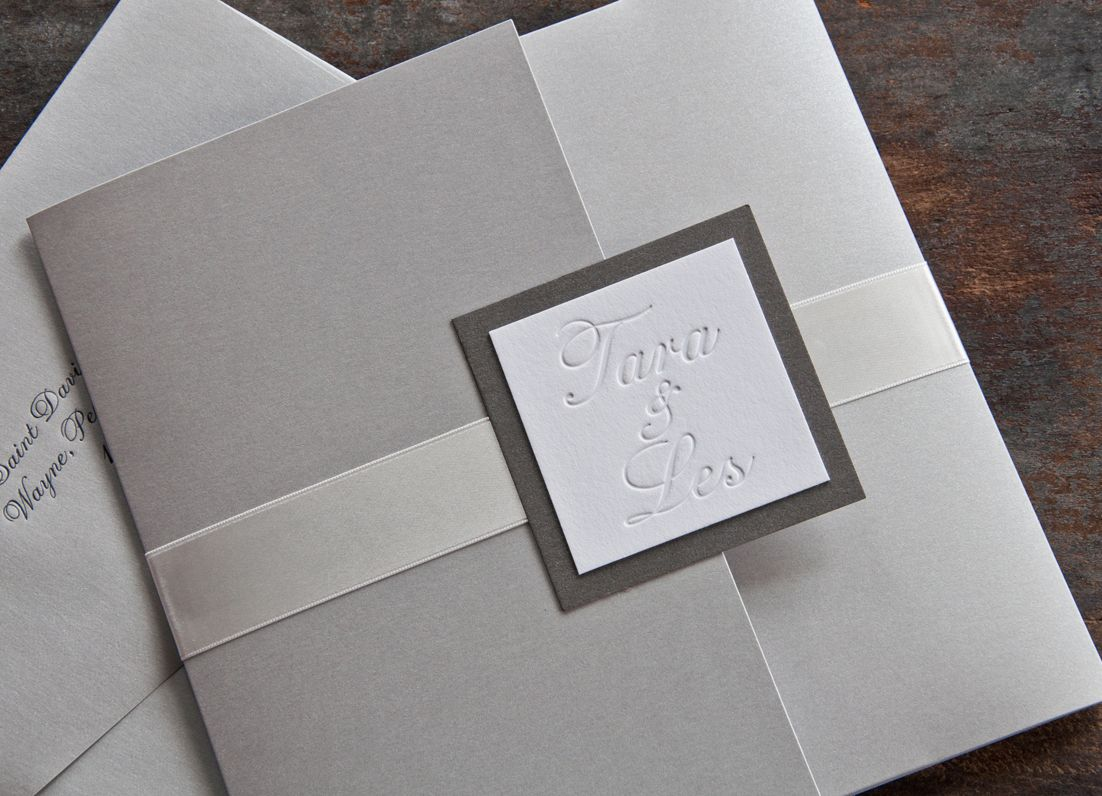 information on wedding invitation examples%0A Blind Embossed names on invitation    Two Paperdolls