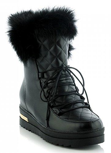 IDIFU Womens Comfy Mid Wedge Heels Heighten Platform Faux Fur Lined Lace Up Ankle Snow Boots Black 7 BM US * See this great product.