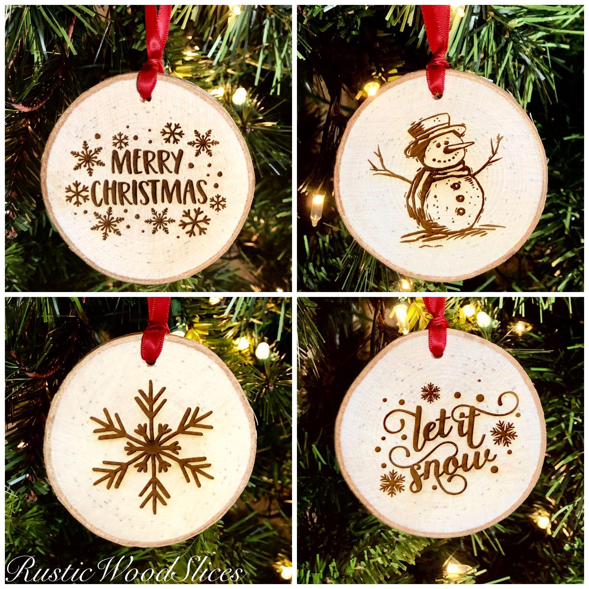 Real Wood Slice Christmas Ornaments With Bark Wood Christmas Ornaments Christmas Snowflakes Decorations Diy Christmas Snowflakes