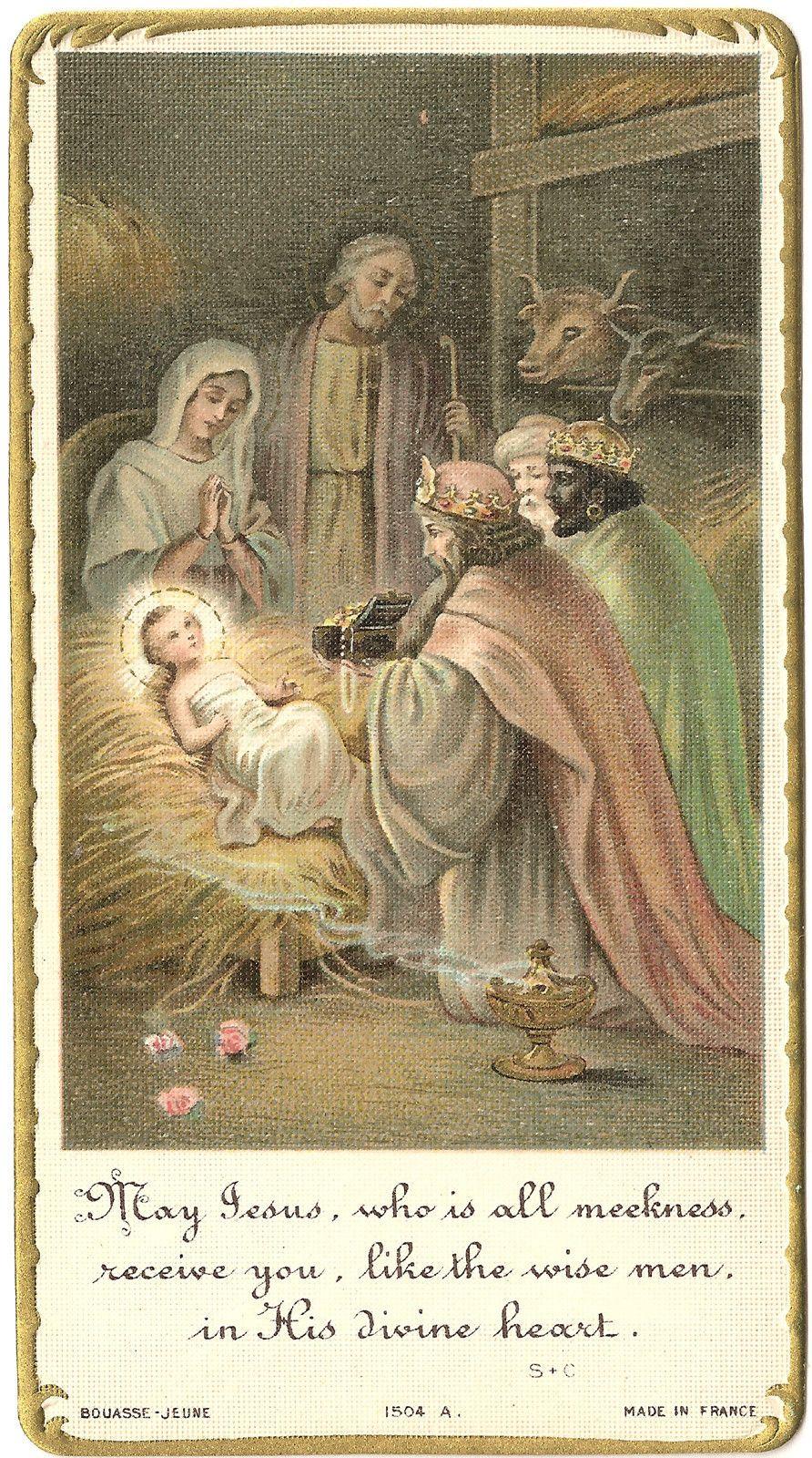 antique vintage holy prayer card manger nativity scene. Black Bedroom Furniture Sets. Home Design Ideas
