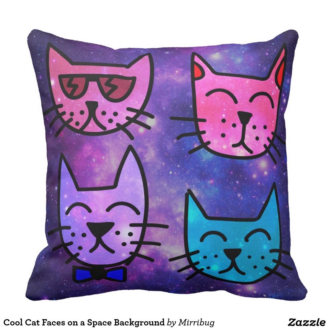 Cool cat faces on a space background pillow zazzle pillows