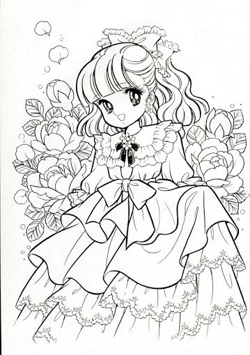 Japanese Coloring Book Pages. Vintage Japanese Coloring Book 7  Shoujo Pinterest