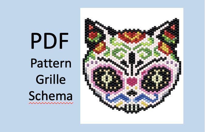Peyote or brick stitch pattern sugar cat / tissage perles miyuki halloween / miyuki pattern / diagramme miyuki / modèle miyuki #stitching