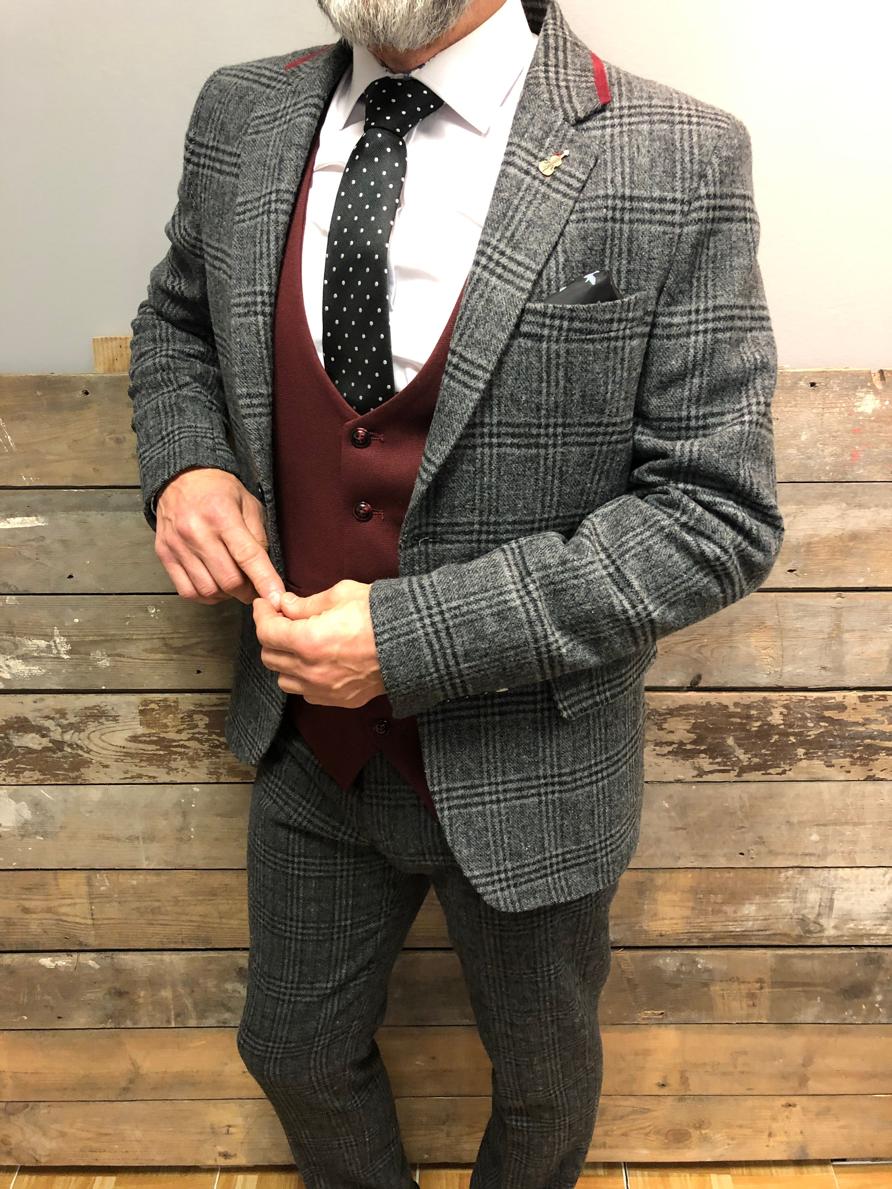 Fratelli Grey Check Tweed Style Suit With Burgundy Trim.