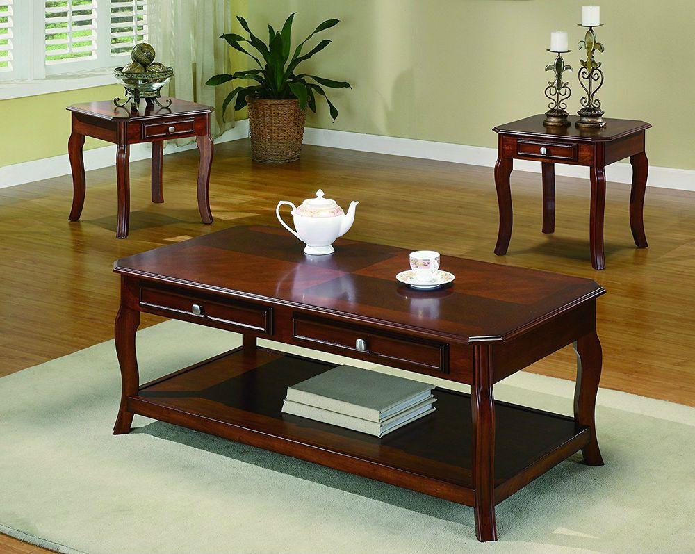 3 piece coffee table set with storage wood parquet top shelf drawer rh pinterest com