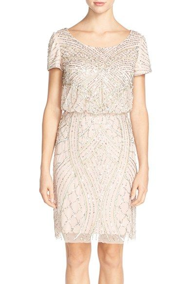 Adrianna papell short sleeve beaded blouson dress for Nordstrom short wedding dresses