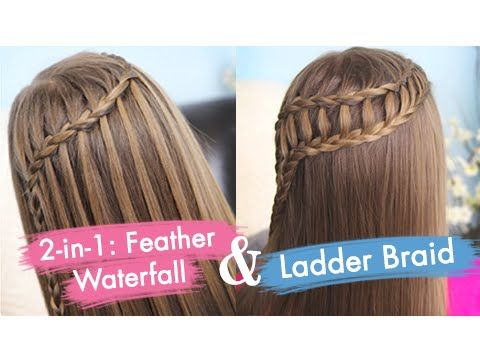 Stupendous Feather Waterfall Ladder Braid Combo Cute 2 In 1 Hairstyles Hairstyles For Men Maxibearus