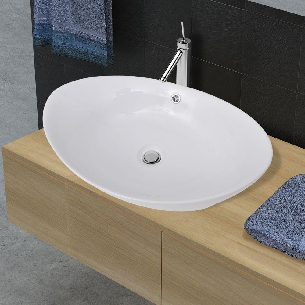 Keramik Waschtisch Waschbecken Aufsatzbecken Waschplatz Uberlauf Handwaschbecken Aufsatzwaschbecken Waschbecken Keramik Waschbecken