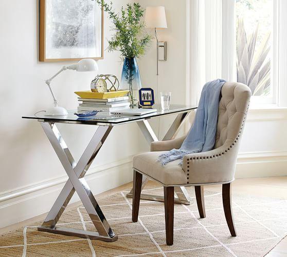 lorraine tufted chair bedrooms metal desks trestle desk desk rh pinterest com
