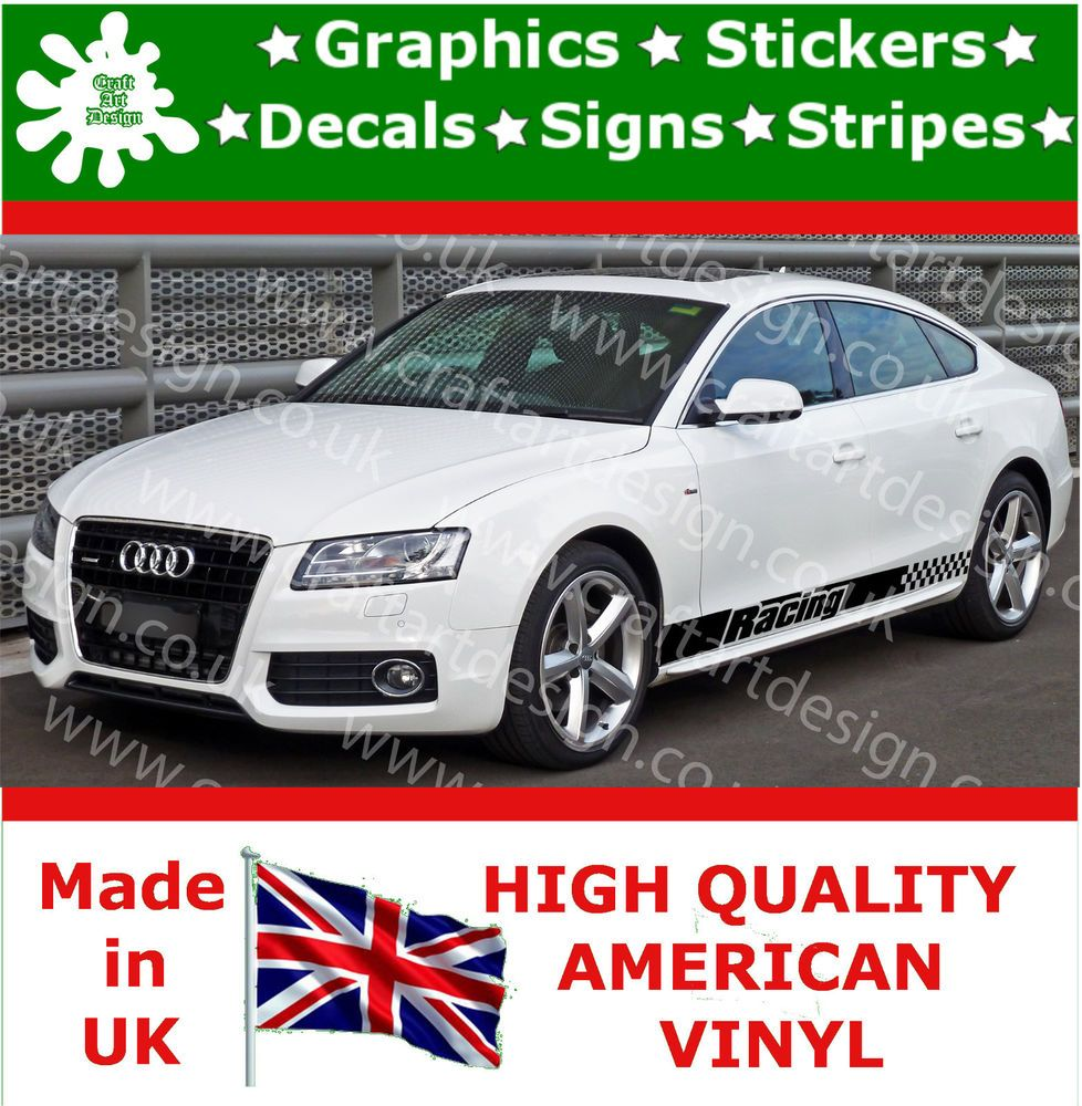 Racing car sticker design - Audi 2x Large Side Racing Stripe Kit Car Stickers Vinyl Race Car Decals Jdm 3