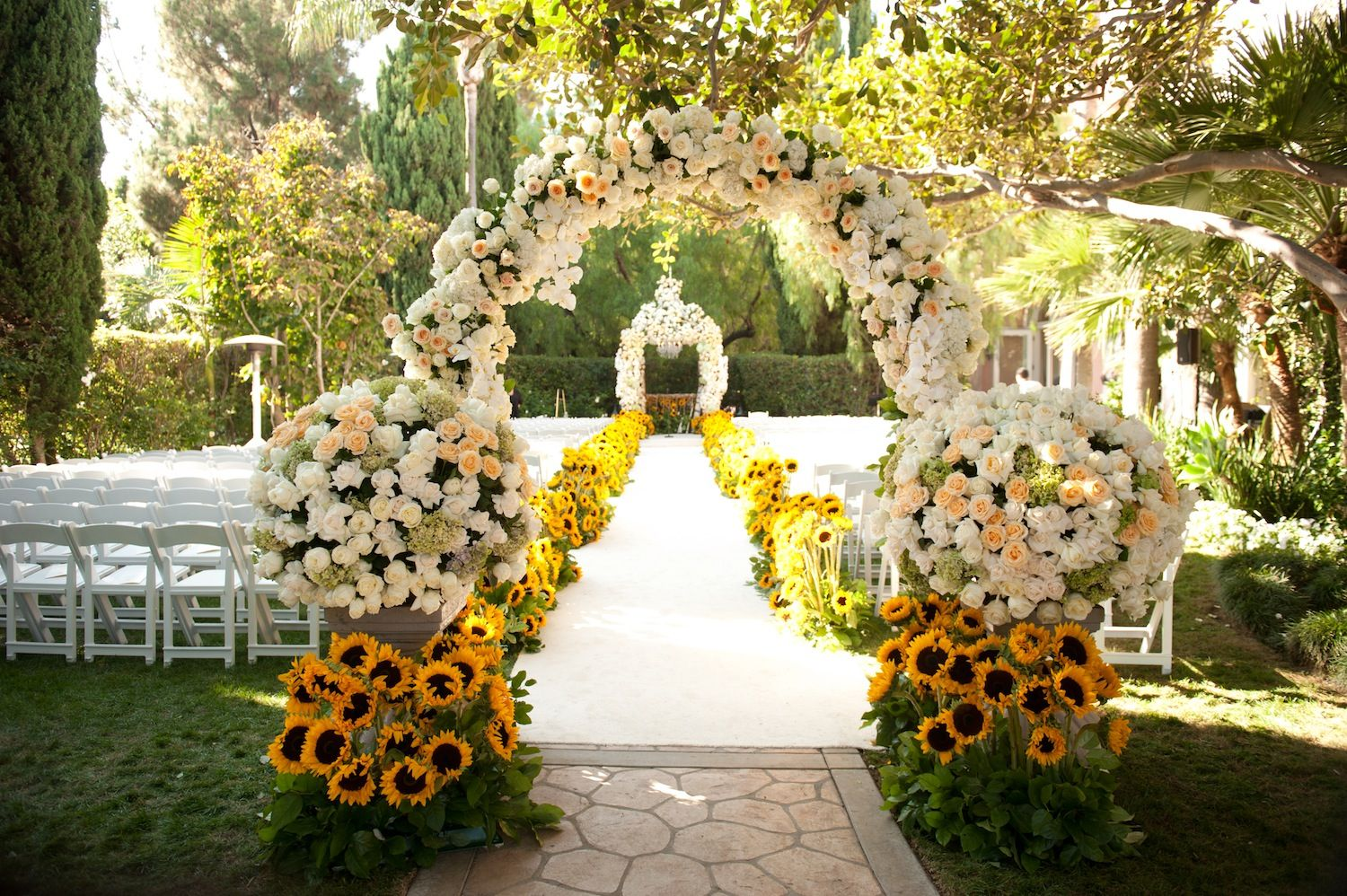 outdoor wedding decoration ideas for fall%0A Summer Sunflower Ceremony  u     GardenInspired Reception