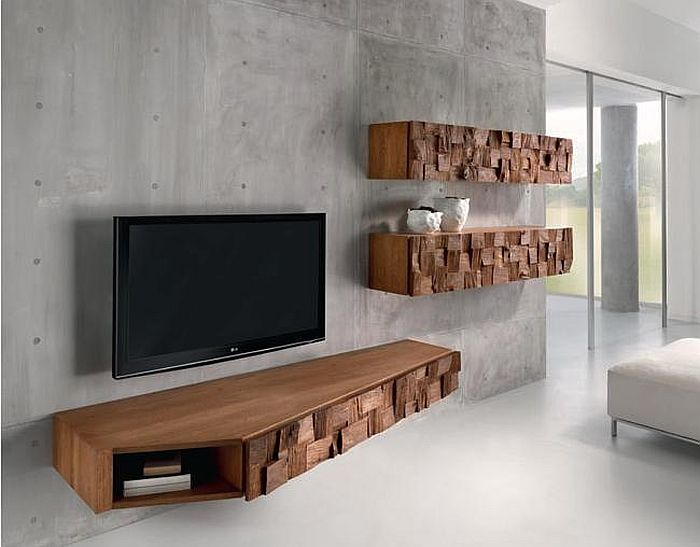 Floating Wooden Cabinets With Random Oak Blocks Organic And Sculptural  Scando Oak Collection Offers Intricate Visual