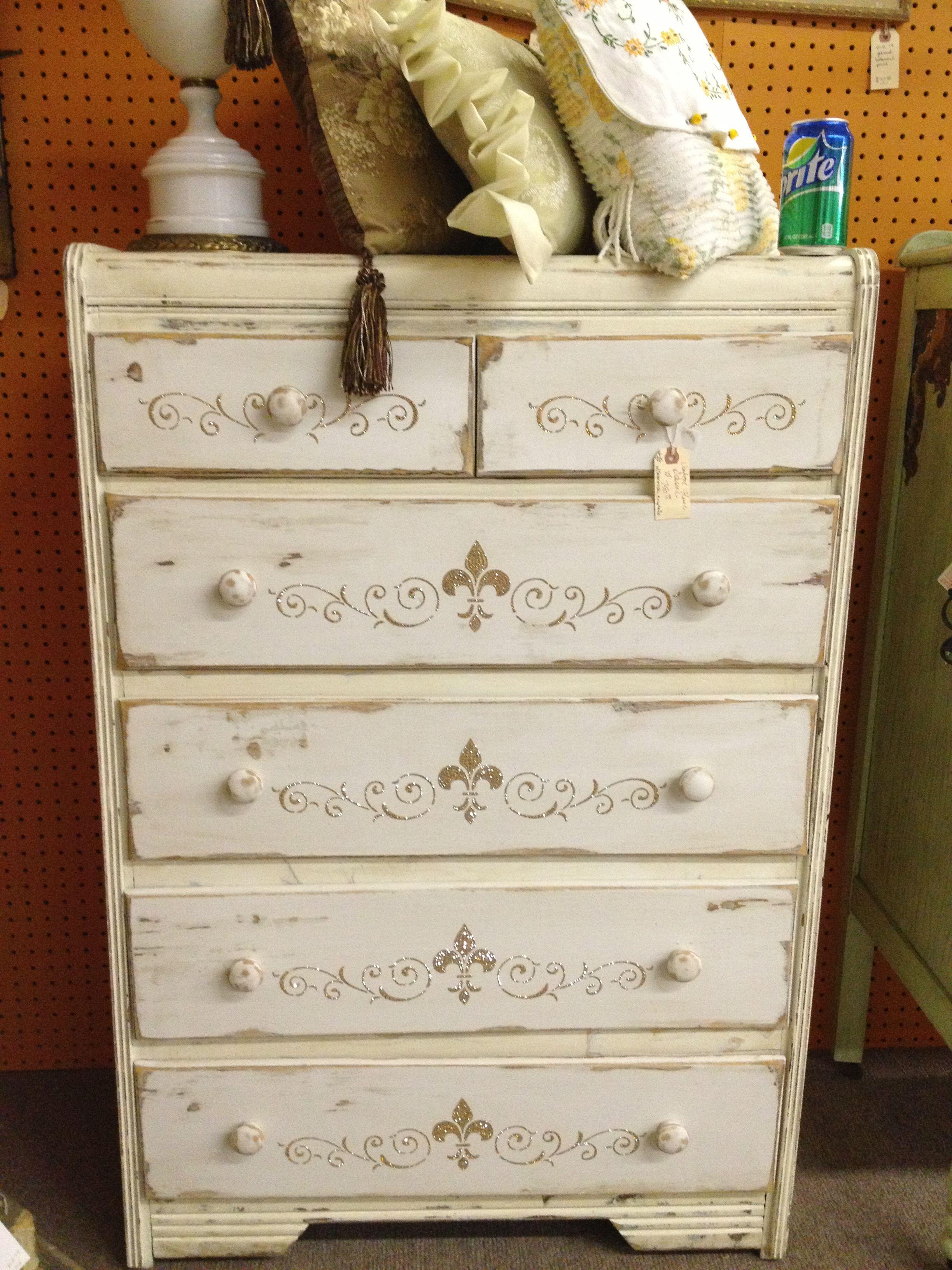 Rhinestone Painted Dresser Shabby Chic