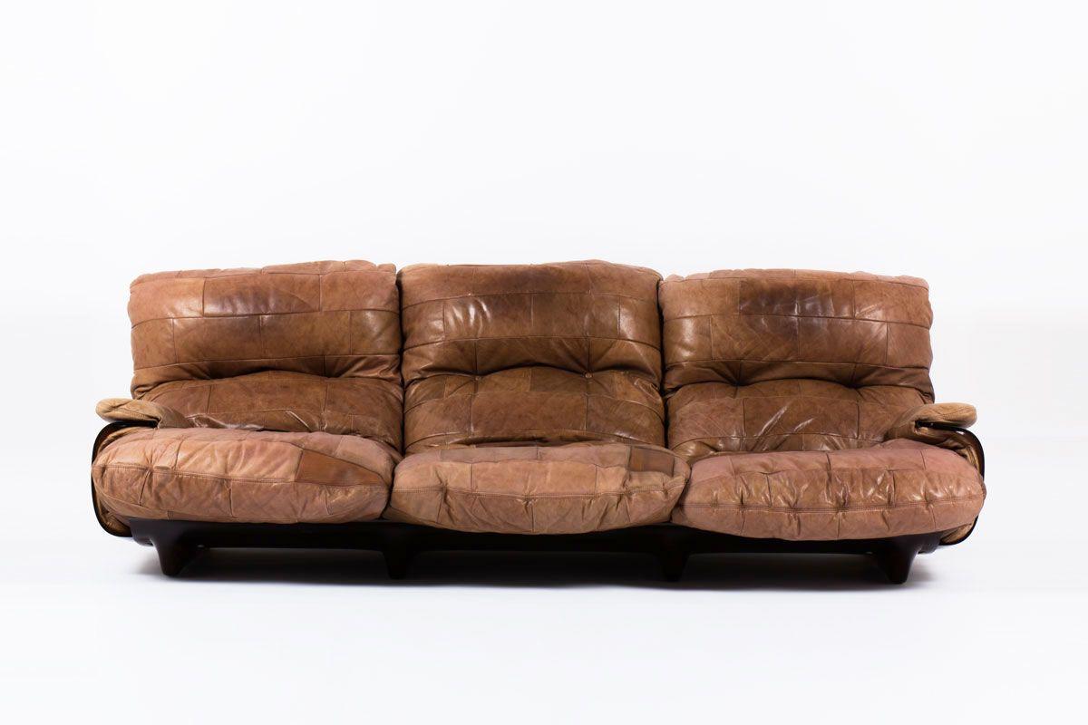 MICHEL DUCAROY SOFA MODEL MARSALA IN BROWN LEATHER EDITION LIGNE ...
