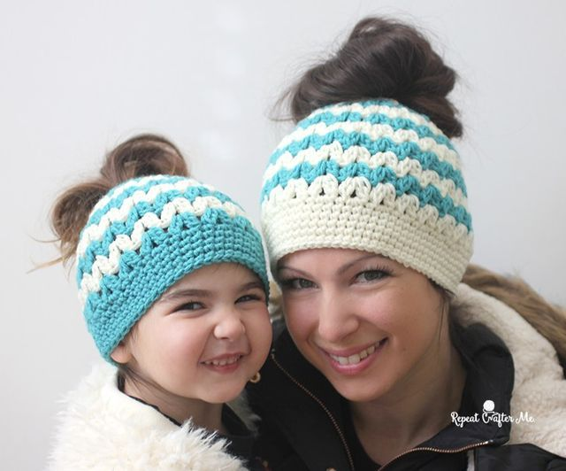 Crochet Mommy And Me Messy Bun Hats Repeat Crafter Me Messy Buns