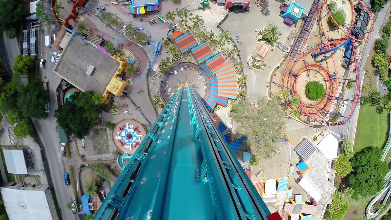 falcon u0027s fury pov drop tower 90 degree tilt straight down on ride