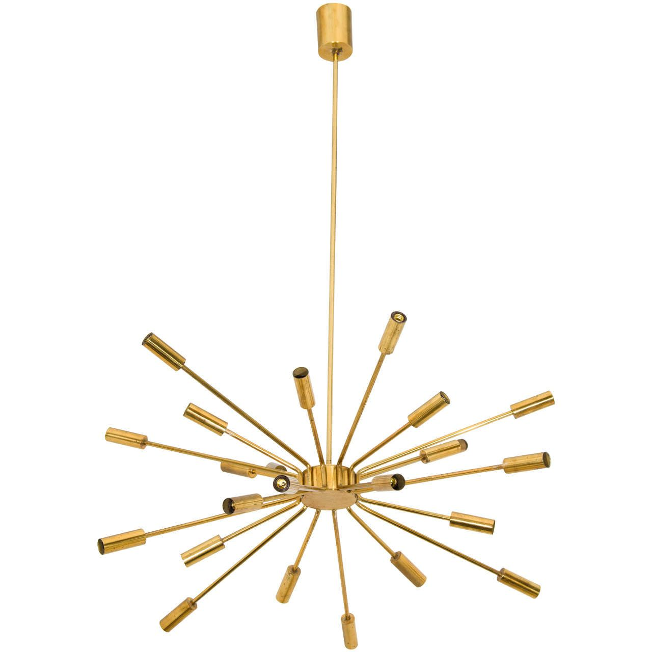Gino Sarfatti Model 2003 Brass Sputnik Chandelier For Arteluce From A Unique Collection Of Antique And Modern Chandeliers Pendants At