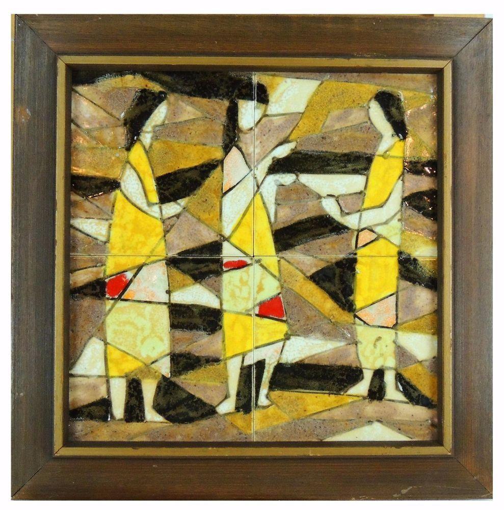 HARRIS STRONG FRAMED MID CENTURY WALL ART CERAMIC 4 (6 x 6\