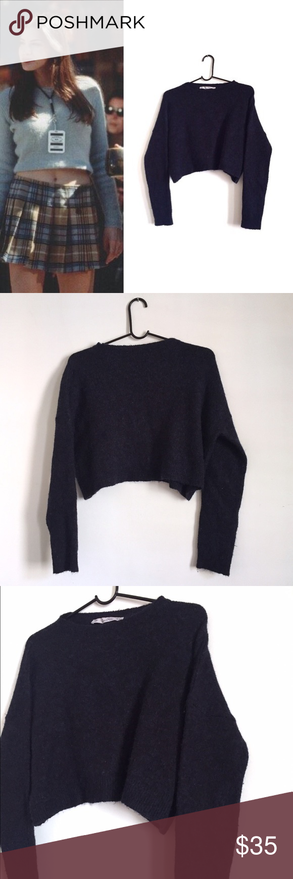 Zara Knit Cropped Navy Blue Sweater