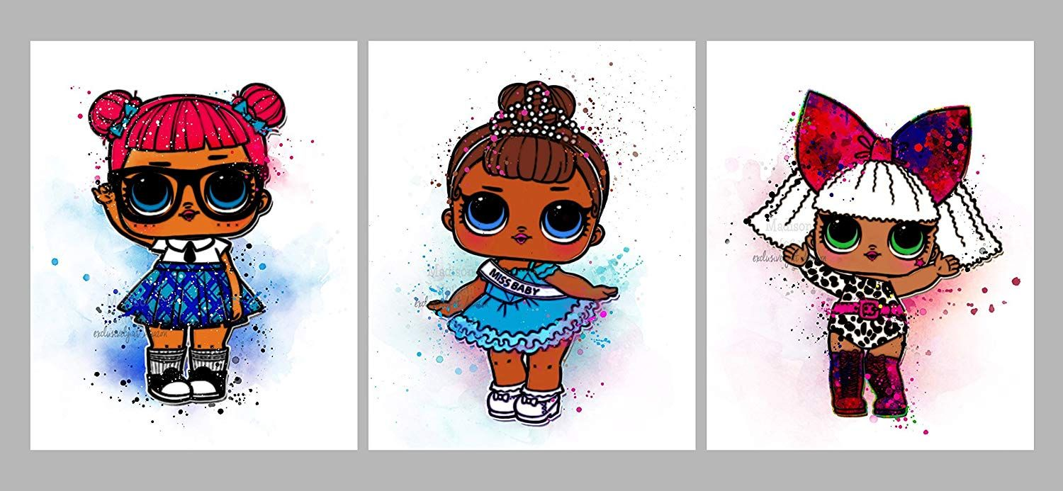 L O L Surprise Doll Inspired Digital Print Watercolor Painting